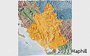 Political Shades 3D Map of Ipiros, semi-desaturated