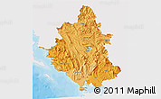 Political Shades 3D Map of Ipiros, single color outside