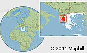 Savanna Style Location Map of Ipiros, highlighted country