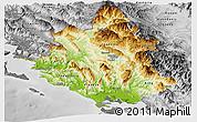 Physical Panoramic Map of Ipiros, desaturated