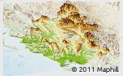 Physical Panoramic Map of Ipiros, lighten