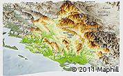 Physical Panoramic Map of Ipiros, semi-desaturated