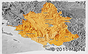Political Shades Panoramic Map of Ipiros, desaturated