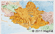 Political Shades Panoramic Map of Ipiros, lighten