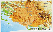 Political Shades Panoramic Map of Ipiros, physical outside