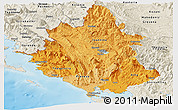 Political Shades Panoramic Map of Ipiros, shaded relief outside