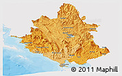 Political Shades Panoramic Map of Ipiros, single color outside