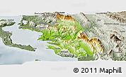Physical Panoramic Map of Thesprotia, semi-desaturated