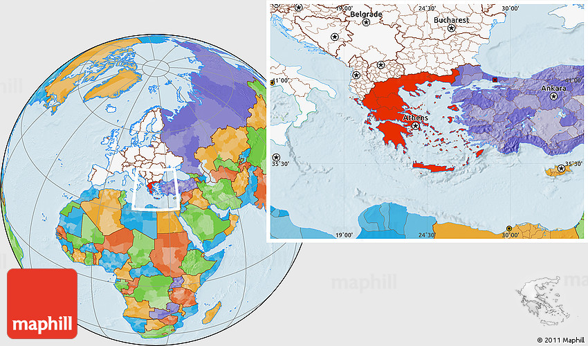 Political location map of greece highlighted continent gumiabroncs Image collections