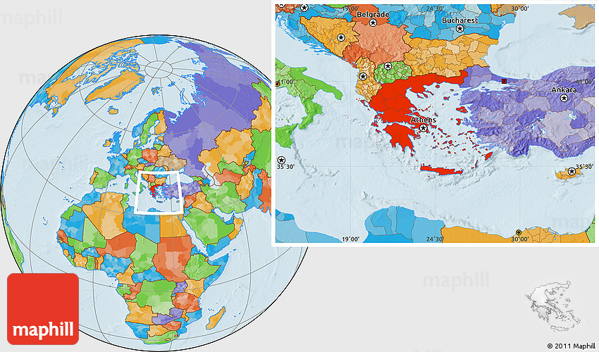 Political Location Map Of Greece - Political map of greece