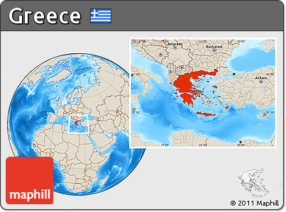 Free Shaded Relief Location Map Of Greece - Greece location