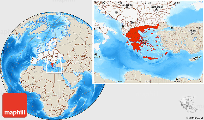 Perfect Shaded Relief Location Map Of Greece, Highlighted Continent