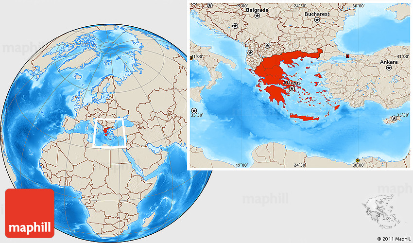 Shaded Relief Location Map Of Greece - Greece location