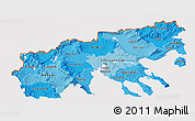 Political Shades 3D Map of Makedonia, cropped outside