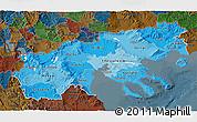 Political Shades 3D Map of Makedonia, darken