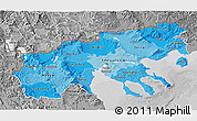 Political Shades 3D Map of Makedonia, desaturated