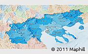Political Shades 3D Map of Makedonia, lighten