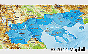 Political Shades 3D Map of Makedonia, physical outside