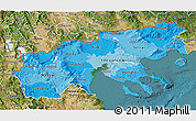 Political Shades 3D Map of Makedonia, satellite outside