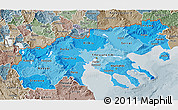 Political Shades 3D Map of Makedonia, semi-desaturated