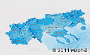 Political Shades 3D Map of Makedonia, single color outside