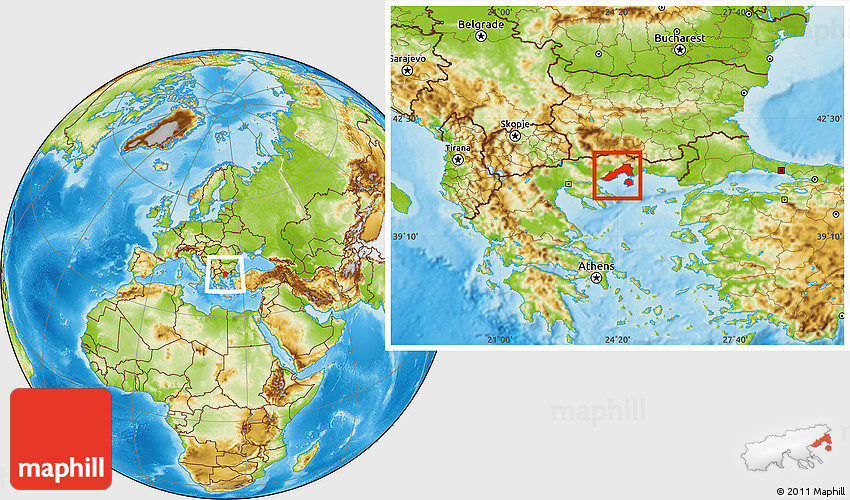 Physical Location Map of Kavala