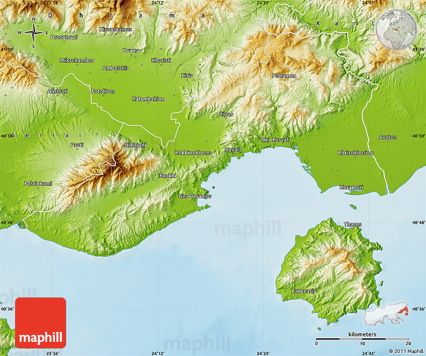 Physical Map of Kavala