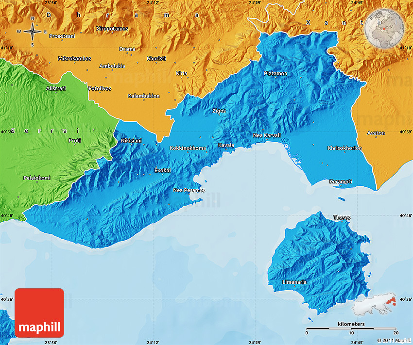 Political Map of Kavala