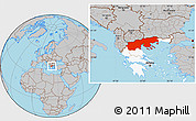 Gray Location Map of Makedonia, highlighted country