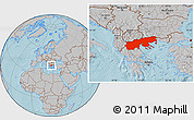 Gray Location Map of Makedonia, hill shading