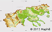 Physical Map of Makedonia, cropped outside