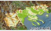 Physical Map of Makedonia, darken