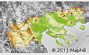 Physical Map of Makedonia, desaturated