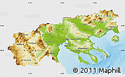Physical Map of Makedonia, single color outside