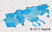 Political Shades Map of Makedonia, cropped outside