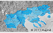 Political Shades Map of Makedonia, desaturated