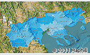 Political Shades Map of Makedonia, satellite outside