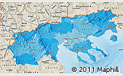 Political Shades Map of Makedonia, shaded relief outside