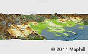 Physical Panoramic Map of Makedonia, darken