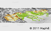 Physical Panoramic Map of Makedonia, desaturated