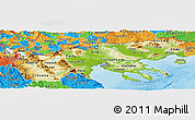 Physical Panoramic Map of Makedonia, political outside