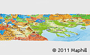Physical Panoramic Map of Makedonia, political shades outside
