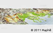Physical Panoramic Map of Makedonia, semi-desaturated