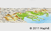 Physical Panoramic Map of Makedonia, shaded relief outside