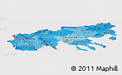 Political Shades Panoramic Map of Makedonia, cropped outside