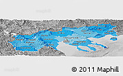 Political Shades Panoramic Map of Makedonia, desaturated