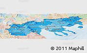 Political Shades Panoramic Map of Makedonia, lighten