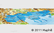 Political Shades Panoramic Map of Makedonia, physical outside