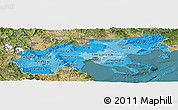 Political Shades Panoramic Map of Makedonia, satellite outside
