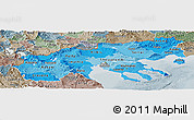 Political Shades Panoramic Map of Makedonia, semi-desaturated